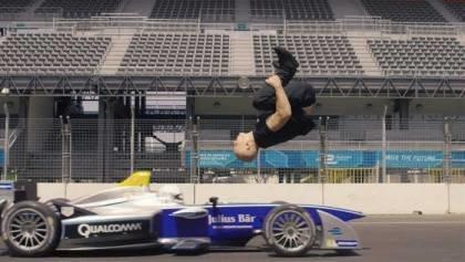 Walter Backflip Over a Speeding Formula E
