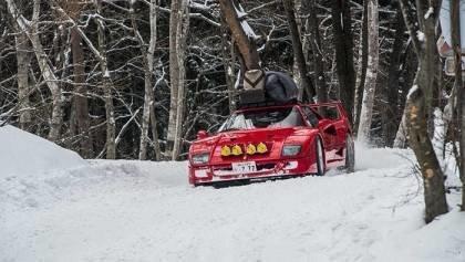 Ferrari F40 Snow Drifting