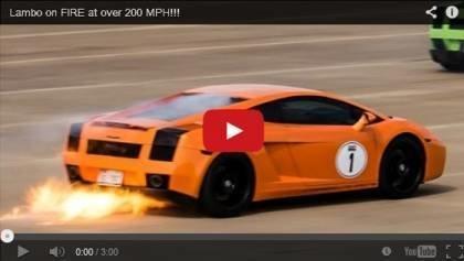 Lamborghini Gallardo explode flames
