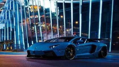 Flames from Lamborghini Aventador