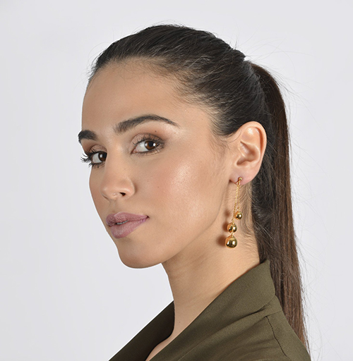 Yellow Gold Chain Earring