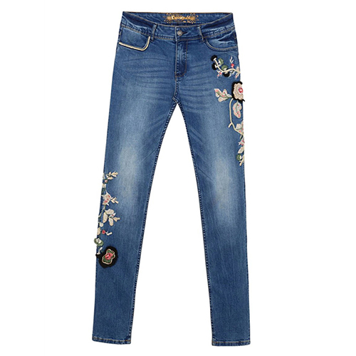 Denim Trousers with Flowe