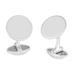 Silver Round Flat Cufflin