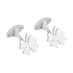 Silver Four-Leaf Cufflink