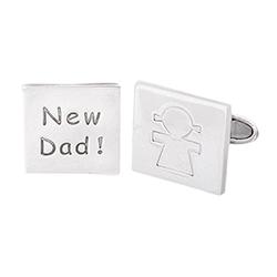 Silver New Dad Cufflinks