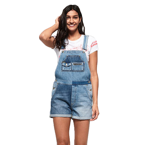 Denim Cut Off Dungarees