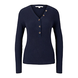 Women's Henley Ribbed Pul